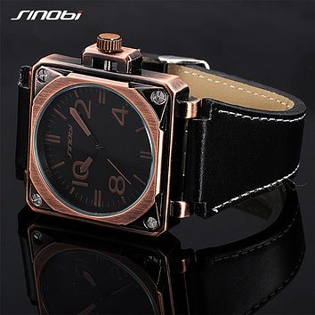 Watches Men Luxury Square Face Aviator Military Quartz-watch Mans Leather Belt