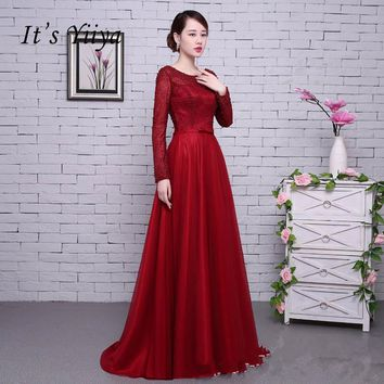 Red Long Sleeves Beading Backless Tulle Flower Lace Up Luxury Party Formal Dress Floor Length Evening Dresses