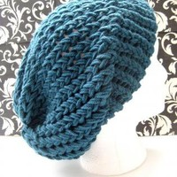 Aja Knit Slouchy Beret Cap - Antique Teal