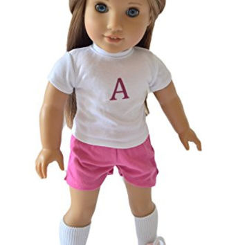 PINK SOCCER PRACTICE OUTFIT FOR AMERICAN GIRL DOLLS