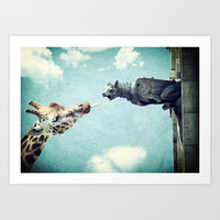 A Giraffe In Paris or French Kiss Art Print by Paula Belle Flores