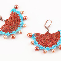 RESERVED FOR JOANNE Blue Copper Lace Earrings - Copper Pearls - Bridesmaid - Elegant Statement - Fiber Art Jewelry - Lightweight
