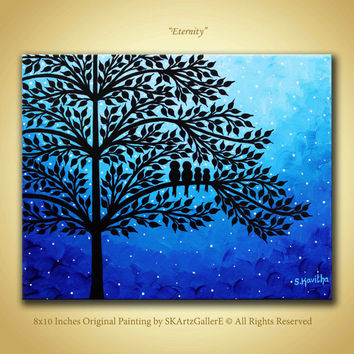 Bird Art Family Birds Painting Blue Wall 8x10 Canvas Starry Night Artwork
