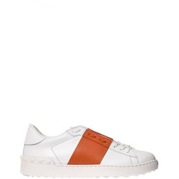 White & Orange Valentino Garavani Open Sneakers