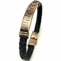 Versace Great Wall rose gold stainless steel genuine leather woven bracelet F-LCZD-ALRSP Black+rose gold logo
