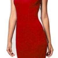 WIIPU fashion Square Neck party Rockabilly Bodycon Business Pencil Dress (WP-57) (L, red)