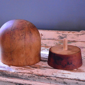 Antique Wood Hat Form, Millinery Wood Block Hat Form, Hat Stand, Hat Block, Midwest H.B & D CO, Chicago