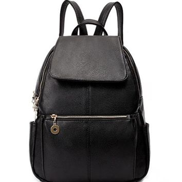2017 New Women Fashion Pebbled Faux Leather Flap Zippered Backpack