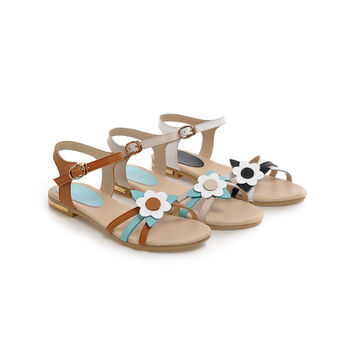 Fashion Genuine Leather Sandals Women Flats Shoes with Flower 2489