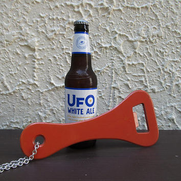 Giant Orange Bottle Opener, Orange Enamel Beer Opener, Gag Gift, Man Cave