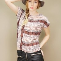 Lightweight cropped vintage zebra print top in black, brown and taupe | shopcuffs.com