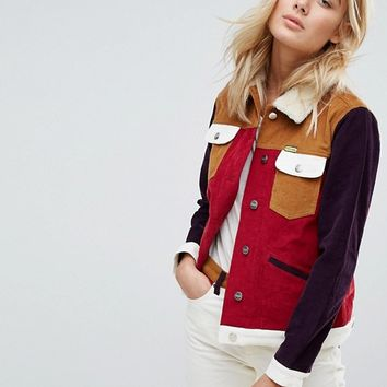 Wrangler x Peter Max Western Cord Jacket with Borg Collar and Lining at asos.com