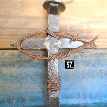 Railroad Spike Cross with Barbed Wire Christian Fish Ichthus Fish Iron Cross Western Cross Barbed Wire Art Western Art Christian Art RSC-088