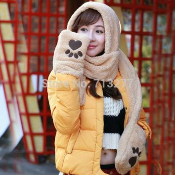 2017 Winter Cartoon Christmas Plush Animal Fur Hat with Scarf Bear Paws with Glove and Mitten for Women Hat Scarf Set Winter Hat