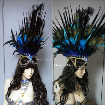 Rihanna Feather Mohawk Samba Headdress Cosplay Dance Costume Rave Bra Halloween Burlesque Show Girl