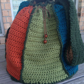 Large Handmade Crochet Slouch Handbag, Tote Bag, Shoulder Bags for Women, Multi-colored handbag, Crochet Purse, Ladies Handbags, Boho Bag
