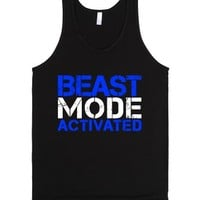 Beast Mode Activated Dark Tank Top (blue White Art)-Black Tank