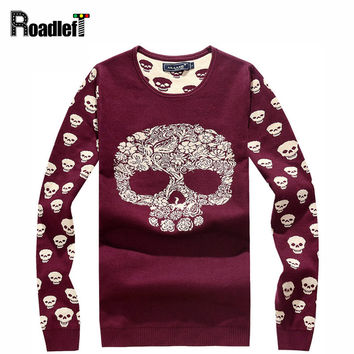 New Male fashion skulls pattern casual knitted sweater Men thin slim O-neck pullover sweaters