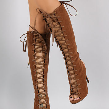 Liliana Corset Lace Up Stiletto Knee High Boots