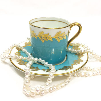 Aynsley Demitasse Cup and Saucer, Turquoise & Gold Demitasse, English Tea Cup and Saucer, 1950s, Vintage Tea Cup