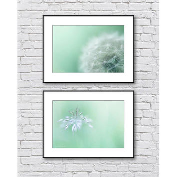 Mint Bathroom Art, Nature Bathroom Decor Set, Bathroom Gallery Wall Set, Set of 2 Photo Prints, Mint Green Wall Art Set
