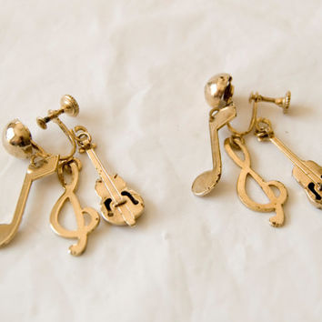 Vintage Screw on Dangle Gold Tone Earrings Musical Tones and Guitars