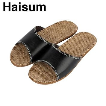 2017 New Fashion Summer Home Slippers PU Leather Men Slippers High Quality Hemp Indoor Shoes Lovers Non-Slip House SlipperH-8836