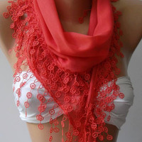pomegranate flower -- Elegance Shawl - Scarf with Lace Edge