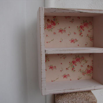 French  pink,shabby chic,solid wood apothecary shelf with roses angel/cherub fabric small bathroom cabinet-heavy