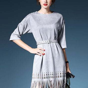 Gray Suedette Laser Cut Half Sleeve Belt Waist Fringed Dress