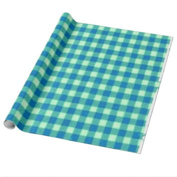Gingham Aqua Baby Wrapping Paper