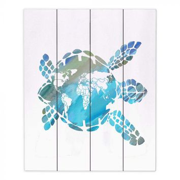 Wood Plank Wall Art By Catherine Holcombe World Map Sea Turtle