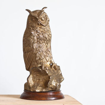 Vintage LARGE Solid Brass Owl Statue, Great Horned Owl Bird Figurine, Rustic Modern Woodland Cabin Decor or Hollywood Regency, 11 3/4 inch