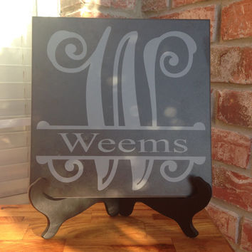 Custom Monogram Ceramic Tile with Vinyl Lettering 12x12