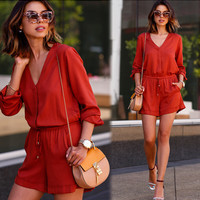 Solid Red V-Neck Drawstring Romper
