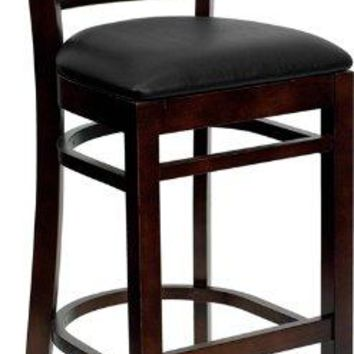 HERCULES Series Walnut Finished Ladder Back Wooden Restaurant Bar Stool - Black Vinyl Seat [XU-DGW0005BARLAD-WAL-BLKV-GG]