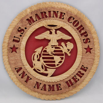 "Personalized Laser cut   ""U. S. Marine Corps ""  wall plaque.  An ideal customized gift for a military veteran! Great Fathers Day present!"