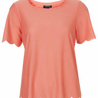 Scallop Frill Tee - Apricot