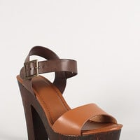 Bamboo Buckle Strap Open Toe Chunky Heel