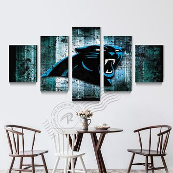 5 Panel Carolina Panthers Sport Poster Canvas Picture Oil Painting Home Decoration Wall Picture For Living Room Prints Unframd