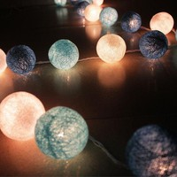 LMFUNT 2M LED 110/220V Blue White 20 pcs Rattan Ball String Fairy Lights For Christmas Wedding decoration Party plug in or dry battery