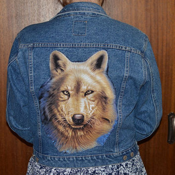 Vintage Denim Jacket with Wolf Print