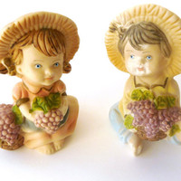 Two Small Vintage Porcelain Boy and Girl with Grapes