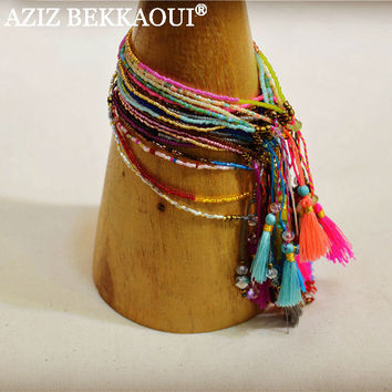 2016 Summer New Bohemian Fashion Retro Multicolor Beaded Weave Bracelet Fashion Jewelry For Women Knited Beach Tassels Bracelets