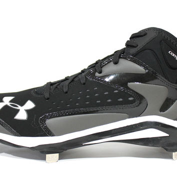 Under Armour Men's Yard Mid ST Black/Charcoal Gray Baseball Metal Cleats