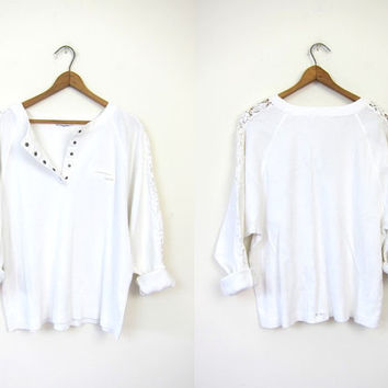 90s White Cotton Shirt Crochet Cut Out Sleeves Basic Top 1990s Ribbed Raglan Tshirt Pocket Tee Cropped Simple Minimal Snap Up Henley XS