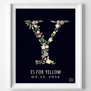 Yvette, Nursery, Print, Customized Name, Yachne, Name Art, Yellow, Letter Y, Poster, Alphabet Y, Girl, Initial, Baby Shower, Gift [NO 714]