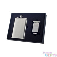 Visol Edge 8oz Flask and Zippo Lighter Gift Set