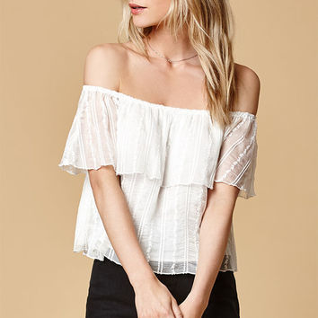 Honey Punch Ruffled Off-The-Shoulder Top at PacSun.com