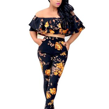 Floral Black Bandeau Top and Matching Pants